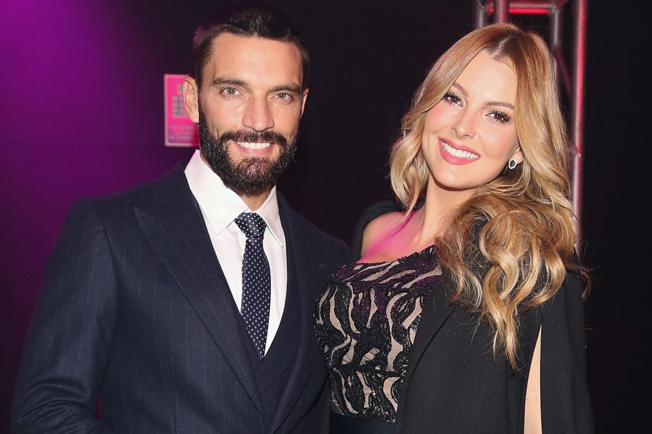 MEXICO CITY, MEXICO - OCTOBER 11:  Julian Gil and Marjorie de Sousa attend the second day of Mercedes-Benz Fashion Week Mexico Spring/Summer 2017 at Maria Isabel Sheraton hotel on October 11, 2016 in Mexico City, Mexico.  (Photo by Victor Chavez/WireImage)